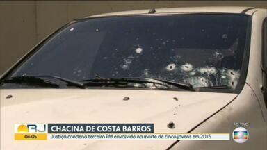 Justiça condena terceiro PM envolvido na chacina de Costa Barros - Foi condenado o terceiro policial envolvido na chacina de Costa Barros - Thiago Resende Viana Barbosa. A pena é de 52 anos de prisão.