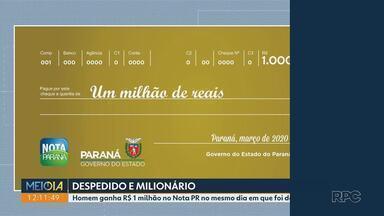 Morador de Sarandi é demitido e no mesmo dia fica milionário - Ele foi demitido no mesmo dia que foi sorteado num dos prêmios do Nota Paraná e ganhou 1 milhão de reais