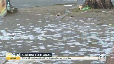 Sujeira de santinhos de candidatos é registrada na manhã de segunda-feira (16) em BH - SLU informou que uma força-tarefa vai fazer a limpeza perto de locais que foram usados como zonas eleitorais.