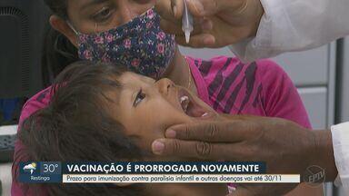 Governo de SP prorroga campanha de vacinação contra a paralisação infantil - Prazo para imunização contra a poliomielite e outras doenças vai até 30 de novembro.