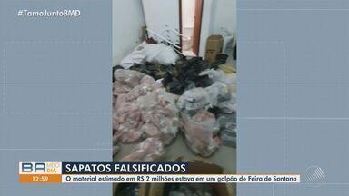 Polícia apreende centenas de pares de calçados falsificados em Feira de Santana - O material é avaliado em mais de R$ 2 milhões.