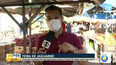 Veja como estão sendo cumpridos os protocolos de segurança sanitária na Feira de Jaguaribe - Feira livre tem dificuldade para cumprimento de medidas contra coronavírus
