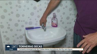 Conserto da Cedae deixa moradores do Rio com torneiras secas - Moradores estão tendo que gastar dinheiro com galões de água.