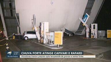 Chuva com granizo causa danos em Capivari e Rafard - O temporal derrubou o telhado de um posto, torres de energia e casas tiveram prejuízos.