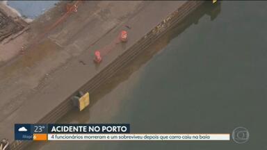 Carro cai na Baía de Guanabara e mata quatro trabalhadores no porto do Rio - Motorista perdeu o controle do veículo que levava funcionários de uma empresa durante troca de turno. As buscas pelos funcionários duraram até a madrugada desta quinta (19).