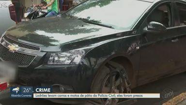 Ladrões roubam carros e motos do pátio da Polícia Civil em Ribeirão Preto - Suspeitos levaram 2 veículos e 3 motocicletas, mas já foram presos e os automóveis, recuperados.