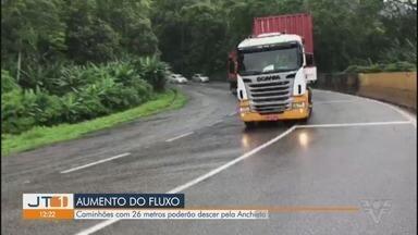 Caminhões com 26 metros poderão descer pela Anchieta - Teste tem como objetivo melhorar o fluxo de caminhões para o Porto de Santos.