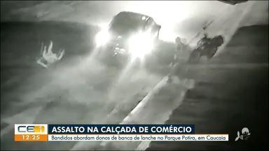 Suspeitos abordam comércio no Parque Potira, em Caucaia, e assaltam moradores - Saiba mais no g1.com.br/ce