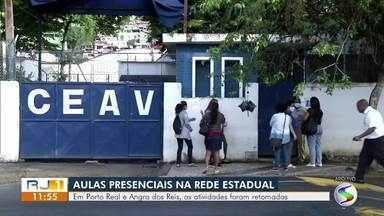 Aulas presenciais da rede estadual são retomadas em Porto Real e Angra dos Reis - Alunos podem optar por continuar assistindo aulas de forma online.