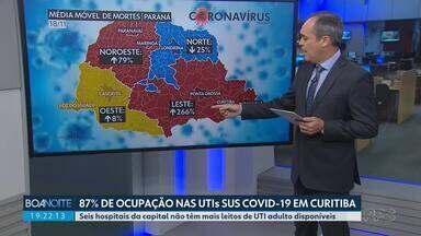 Curitiba registra o maior número de casos de coronavírus desde o início da pandemia - Veja como está o crescimento de mortes em cada região do Paraná.