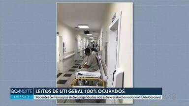 Não há mais leitos livres na UTI geral do Hospital Universitário de Cascavel - Pacientes com cirurgias eletivas agendadas não estão sendo chamados.