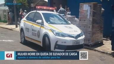 Mulher morre em queda de elevador de carga em Carazinho - Beatriz Fátima Montano da Silva, de 49 anos, operava o elevador de carga no depósito de um supermercado, quando teve a queda do equipamento.