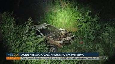 Acidente entre carro e caminhão mata caminhoneiro na BR-373, em Imbituva - Ele morreu na hora. Motorista do carro teve ferimentos graves.