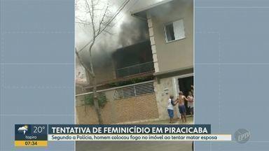 Suspeito é autuado por tentativa de feminicídio após incêndio em casa de Piracicaba - Segundo a SSP, o caso é investigado pela DDM de Piracicaba e um suspeito foi internado sob escolta, por conta de ferimentos.