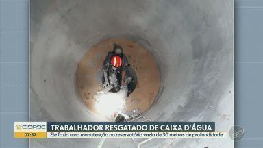Trabalhador é resgatado por bombeiros após cair dentro de caixa d'água vazia em Holambra - Homem de 42 anos foi socorrido ao Hospital de Jaguariúna. Suspeita é que ele tenha se intoxicado com resina epóxi que utilizava durante serviço de manutenção, diz a corporação.