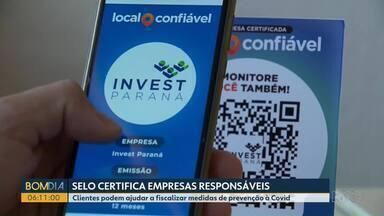 Selo certifica empresas que seguem medidas de prevenção contra o coronavírus - Clientes podem ajudar na fiscalização e atualizar informações dos estabelecimentos por um aplicativo.
