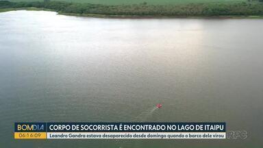 Corpo de homem é encontrado no Lago de Itaipu - Ele estava desaparecido desde domingo.