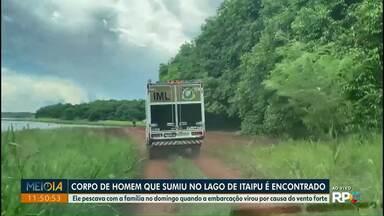 Corpo de homem que desapareceu no Lago de Itaipu é encontrado - Ele pescava com a família no domingo (29) quando a embarcação virou por causa do vento forte.
