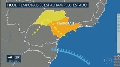 Frente fria se aproxima e reforça as instabilidades na Grande São Paulo - Tem risco de temporal nas próximas horas, chuva nos próximos dias também e queda nas temperaturas. Confira!