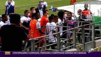 Com expulsão e confusão, Fortaleza e Corinthians empatam na Arena Castelão; confira - Com expulsão e confusão, Fortaleza e Corinthians empatam na Arena Castelão; confira
