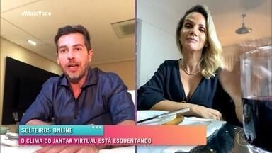 Veja como foi o jantar virtual de Fernanda e Ricardo - Os solteiros conversam enquanto aproveitam uma massa deliciosa. Será que rola um beijo virtual?