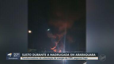 Transformadores de subestação de energia da CPFL pegam fogo em Araraquara - As chamas teriam começado às 2h desta quinta-feira (10).