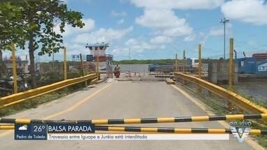 Travessia de balsas entre Iguape e Juréia é interditada - Transporte está sendo feito por lanchas.