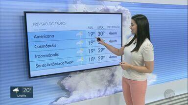 Região de Campinas pode ter chuvas isoladas nesta sexta-feira (11) - Temperatura em algumas cidades pode ultrapassar marca de 30º C.