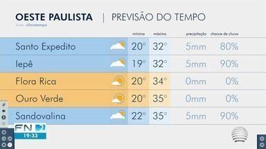 Meteorologia prevê tempo chuvoso na região de Presidente Prudente - Confira como ficam as temperaturas no Oeste Paulista, com Simone Gomes.