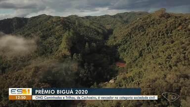 Ong 'Caminhadas e Trilhas' recebe prêmio Biguá 2020, no Sul do ES - Assista.