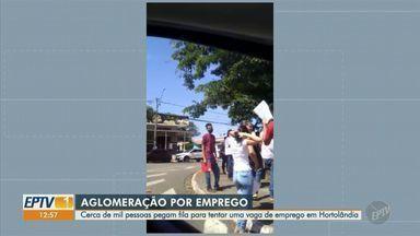 Fila com cerca de mil pessoas em PAT de Hortolândia tem aglomeração - Imagens enviadas pelos telespectadores à EPTV mostram falta de respeito ao isolamento social, o que pode provocar a propagação da Covid-19.