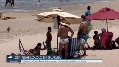 Guarujá flexibiliza uso de cadeiras e guarda-sóis nas praias a partir desta sexta-feira - De acordo com a prefeitura, a medida foi adotada com base na manutenção da taxa de ocupação dos leitos públicos destinados à Covid-19, que está abaixo de 50%.