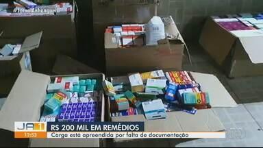 COD apreende R$ 200 mil em remédios sem documentação fiscal, em Corumbaíba - Carga está apreendida.
