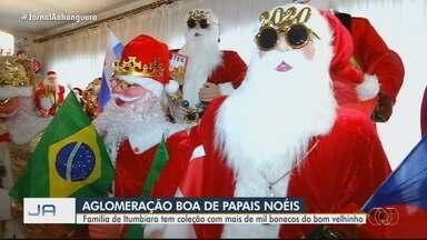 Família de Itumbiara tem coleção com mais de mil bonecos do Papai Noel - Eles tem reproduções do 'bom velhinho' até no banheiro.