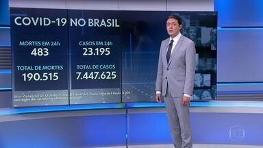 Brasil registra 483 mortes por Covid em 24 horas - A média móvel de mortes pela doença no Brasil nos últimos sete dias foi de 690. A tendência é de estabilidade nos óbitos pelo segundo dia seguido.