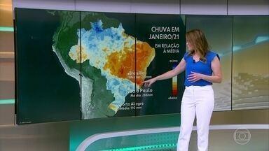 Centro-sul do Brasil deve ter bastante chuva, nesse primeiro mês do ano - Já Nordeste, TO, MT, GO, norte de MG e ES terão dias mais secos.