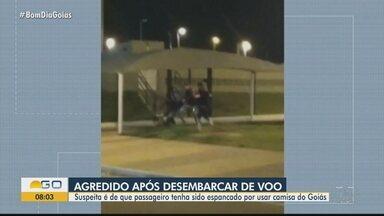 Jovem denuncia que foi agredido no aeroporto por estar usando camisa do Goiás - Agressão aconteceu na área externa do aeroporto.