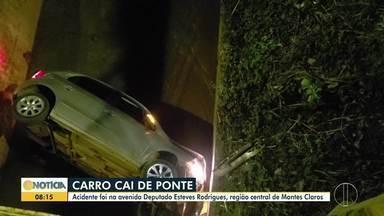 Carro cai em córrego em Montes Claros - Motorista sofreu ferimentos leves.