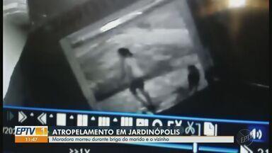 Mulher morre atropelada em Jardinópolis, SP, durante briga de trânsito - Câmeras de segurança registraram a discussão entre o marido da vítima e o vizinho, com o atropelamento na sequência.