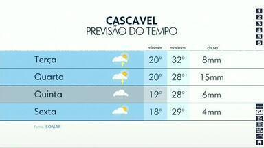 Semana começa com instabilidade no oeste do Paraná - Na metade da semana uma frente fria se aproxima e deve provocar pancadas mais fortes.