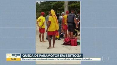 Quatro pessoas ficam feridas em queda de paramotor em Bertioga - Paramotor caiu em cima de carrinho de ambulante no litoral do estado.