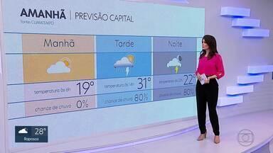Previsão do tempo: quinta-feira deve ser de tempo abafado - Há chances de pancadas de chuva à tarde. Confira no mapa.