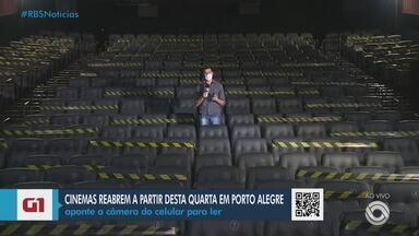 Salas de cinema voltam a funcionar em Porto Alegre nesta quarta (13) - Assista ao vídeo.