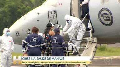 Manaus recebe cilindros de oxigênio de São Paulo e de empresa fornecedora - Dois aviões da FAB fizeram o transporte do material para ajudar os hospitais da capital do Amazonas, que entraram em colapso após recorde das internações por Covid-19 .