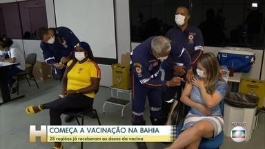Profissionais da linha de frente de combate à Covid começam a ser imunizados em Salvador - Na Bahia, todos os municiípios de mais de 20 mil habitantes já receberam as vacinas, segundo a secretaria estadual.