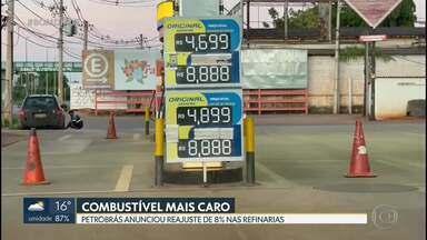 Gasolina deve ficar mais cara após aumento nas refinarias - Este é o quarto aumento consecutivo anunciado pela Petrobrás desde novembro de 2020. Petrobrás anunciou reajuste de 8%.