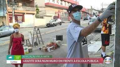 Grafiteiro homenageia aniversário de São Paulo em arte de rua - Arte será feita em um muro em frente à escola pública