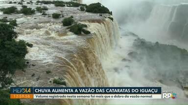 Chuva aumenta a vazão nas Cataratas do Iguaçu - Volume registrado nesta semana foi mais que o dobro da vazão normal.