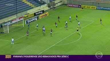 Paraná e Figueirense são rebaixados para a Série C do Brasileirão - Paraná e Figueirense são rebaixados para a Série C do Brasileirão