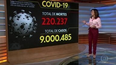 Brasil soma 9 milhões de casos de Covid e 220 mil mortos pela doença - País contabilizou 9.000.485 casos e 220.237 óbitos por Covid-19 desde o início da pandemia, segundo balanço do consórcio de veículos de imprensa. Foram 1.319 mortes registradas em 24 horas.